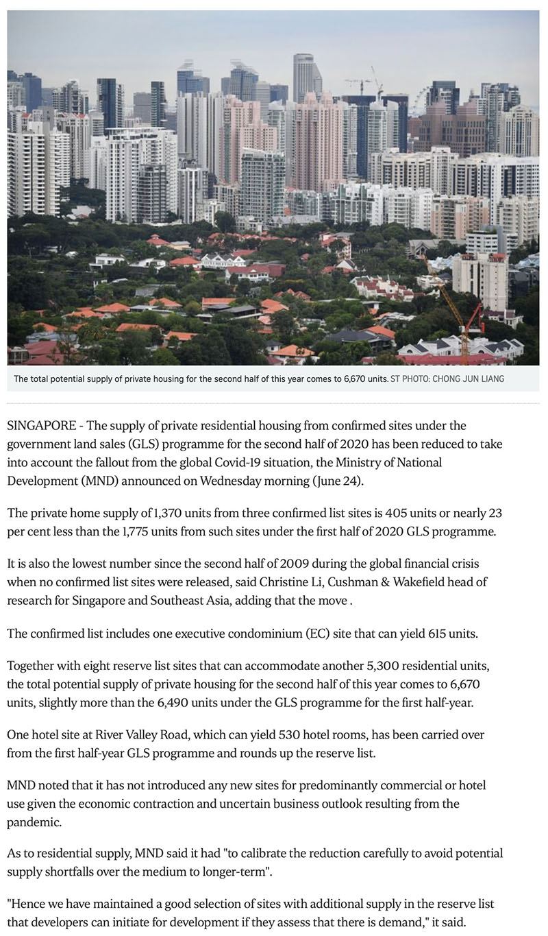 The Florence Residences - Govt cuts private housing supply from confirmed land sale sites due to Covid-19 fallout -1